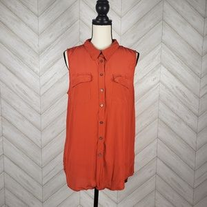 TWO VINCE CAMUTO Orange 100% Silk Button Down Tank
